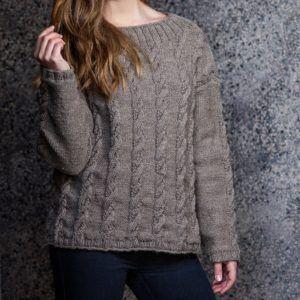 Opskrift på strikket sweater med snoninger